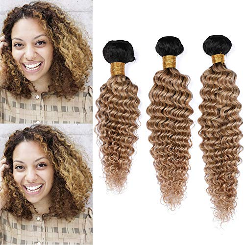 Peruvian Human Hair Honey Blonde Ombre Deep Wave Weave Bundles 3Pcs Lot #1B/27 Light Brown Ombre Virgin Human Hair Weft Extensions Dark Root 10-30' Tangle Free (22 24 24)