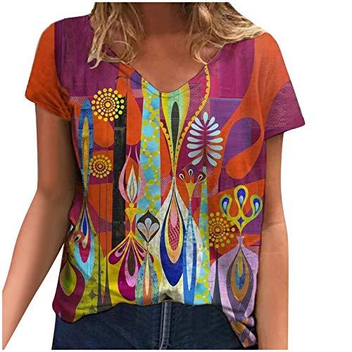 YAAY Camiseta casual de manga corta con cuello en V para mujer, estilo vintage, universo con estrellas de sol, abstracto, gráfico gráfico de verano básico