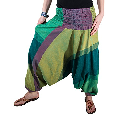 KUNST UND MAGIE Unisex orientalische Yoga Freizeit Haremshose, Farbe:Army Green/Lemon