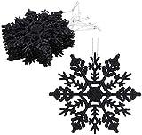 Christmas Concepts Confezione da 12 - Decorazioni da Appendere con Fiocco di Neve Glitterate da 10 cm - Decorazioni Natalizie (Nero)