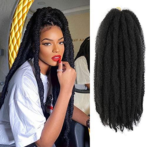 Marley Braiding Hair for Twists Synthetic Fiber Hair Afro Kinky Hair Marley Braid Hair Extensions 6 Packs (18inch, 2#) …