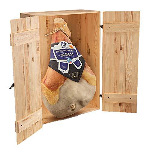 Prosciutto di Parma dop, 30 mesi, con scatola in legno, intero con osso 10,5 kg