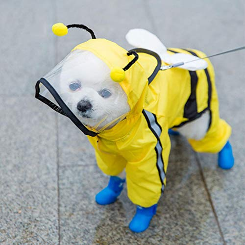 ZP-MIN Pet gato perro impermeable con capucha reflectante cachorro cachorro impermeable chaqueta perro suave transpirable red perro ropa