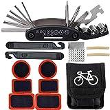 BESTZY Kit de Herramientas para Bicicletas 16 in 1 Multifunctional Bike Cycling Bicycle Repair Tool con kit de parche y palancas para neumáticos