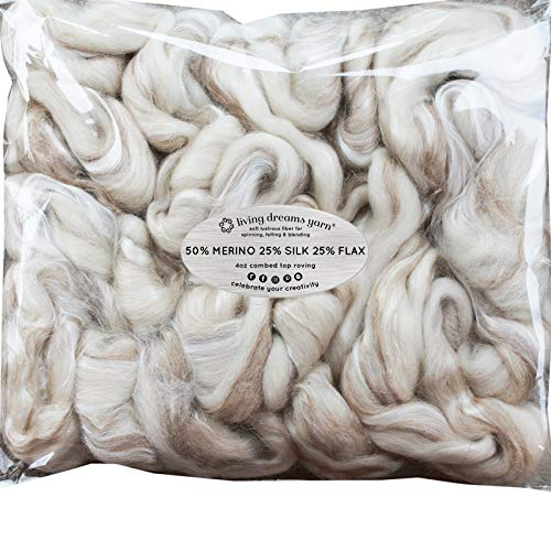 MERINO SILK FLAX for Spinning & Felting. Eco-Friendly, Soft, Breathable Fiber Blend. Made in USA. Cruelty Free & Sustainably Harvested. Au Naturel