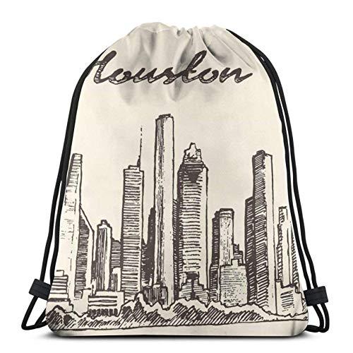 Houston Skyline Big City Structure Drawstring Backpack Sports Gym Sackpack Travel Bag For Kids Men Women
