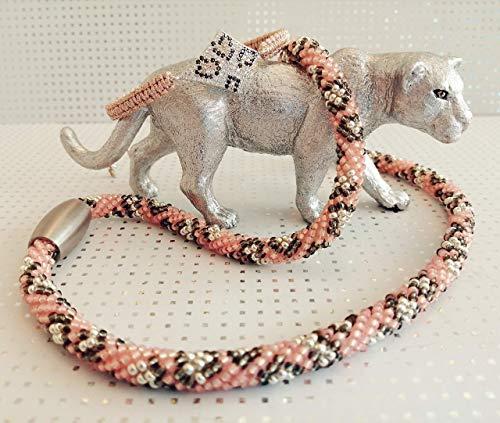 Set Schlauchkette Armband Wildkatzenmuster apricot grau silber