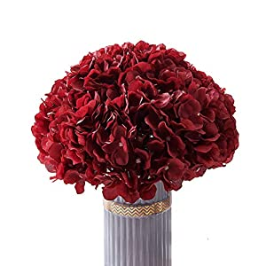 Atinart Burgundy Hydrangea Silk Flowers Full Artificial Hydrangea Heads Pack of 10 for Home Wedding Party Shop Baby Shower Bridal Shower Bouquets Table Centerpiece Decor