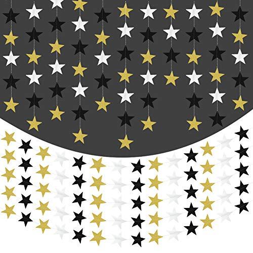 65 Fuß Star Paper Garland Gold Glitter & schwarz & reflektierend Silber funkelnde Sterne Bunting Banner für Hochzeit Geburtstag Party Urlaub Dekorationen