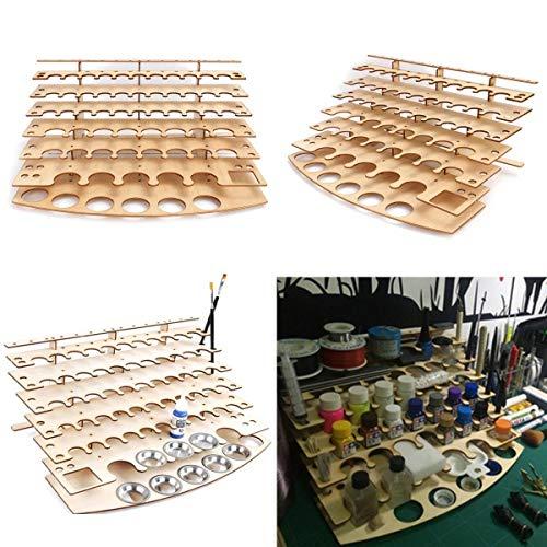 Papelería 60 macetas de madera acrílica color pintura botella estante de almacenamiento estante estante estante de escritorio organizador