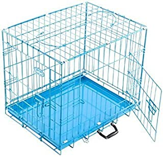 Foodie Puppies Single-Door Folding Metal Dog Cage with Paw Protector (24-inch)