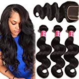 Nadula 8A Unprocessed Brazilian Remy Virgin Human Hair Body Wave Weave Pack of 3 with Free Part Lace Closure Natural Color(12 14 16+10inch Closure)