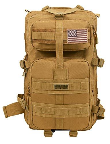 Seibertron Falcon Taktischer Militärischer Rucksack Kompakt Angriff für Wandern Reisen Trekking Tasche Tactical Bag Assault Backpack Military Camping Pack Outdoor Daypacks (Khaki 37L)