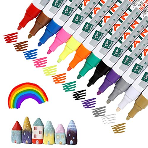 Paint Pens Set of 12 Vibrant Color Oil-Based Water-resistant Paint Marker Set for Rock Painting, Stone, Ceramic, Wood, Plastic, Glass, Mugs, DIY Craft, Christmas Deco, Medium Tip, High Volume Ink