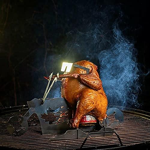 Hähnchenbräter mit Antihaftbeschichtung, Karbonstahl, vertikaler Hähnchenhalter, tragbarer Hühnerständer, Bier, amerikanisches Motorrad, Grill, Edelstahl mit Gläsern, für drinnen und draußen