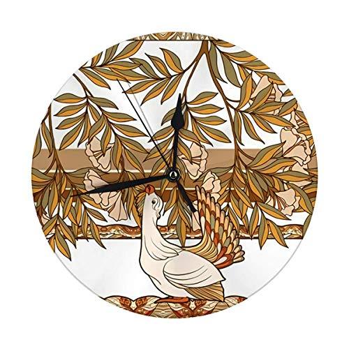 Moderne Wanduhr Dekorative Blumen und Vogel im Jugendstil Vintage Old Retro Dekorative Runde Stille Uhr 9.8IN