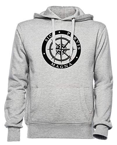 Rundi Sic Parvis Magna Herren Damen Unisex Sweatshirt Kapuzenpullover Grau Größe L - Women's Men's Unisex Hoodie Sweatshirt Grey