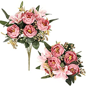 Luyue 2 Pack Artificial Flowers Arrangements Vintage Peony Lily Bouquets Faux Floral Decoration for Home Office Party Cemetery Decor-Vintage Dark Pink