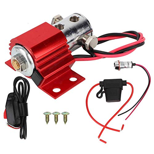 Qiilu Brake Line Lock Kit, Roll Control Brake Line Park Lock Solenoid Lock Electric Kit Hill Holder Accessory Works with 12-16 Volt Electric Systems Stainless Steel Red
