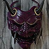 jinda Máscara Arnés Cara Roja Mueca Colmillos Halloween Cuernos morados