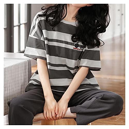 ESTK Conjunto de pijama suave y cómodo para mujer, dos piezas de verano, linda impresión de manga corta y pantalones