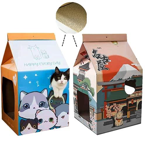 SHENGOCASE Pack of 2 Unique Design Cat Scratcher, Cardboard Cat House with Door and Interactive Window, Cat Scratching Pad,Cat Condo, Cat Cave, Cat Hideaway