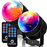 NEQUARE Party Lights Sound Activated Disco Ball Strobe Light 7 Lighting Color Disco Lights with Remote Control for Bar Club Party DJ Karaoke Xmas Wedding Show and Outdoor [2-Pack]