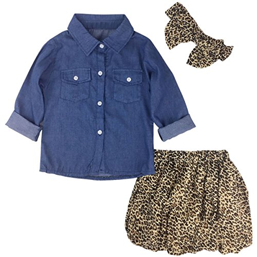 Jastore 3PCS Baby Girls Clothing Set Summer Toddler Kids Denim Tops+Leopard Skirt Outfits (12-18 Months, Leopard)
