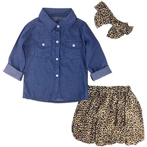 Jastore 3PCS Baby Girls Clothing Set Summer Toddler Kids Denim Tops+Leopard Skirt Outfits (12-18 Months, Leopard)