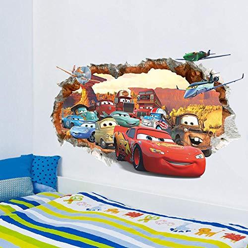 Taihang Carros de dibujos animados 3D pegatinas de pared para niños habitación falsa ventana PVC papel pintado murales pegatinas decoración habitación guardería (Y1484)