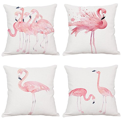 NaNa 4Pack Throw Pillow Covers, Pink Watercolor Flamingo Cotton Linen Cushion Cover for Sofa Bedroom Car 18 X 18 Inch