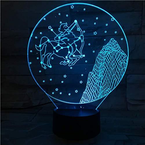 3D Illusion Signes du zodiaque occidental Lampe LED Capteur tactile 7 Lampe de chevet Acrylique Décoratif Sagittaire Lampe de bureau Festival Enfants Cadeaux D'anniversaire USB Charge lumière de nuit