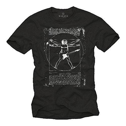 Musik T-Shirts mit Gitarre Leonardo DA Vinci schwarz Männer M