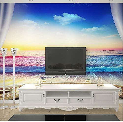 muurschilderingen op maat behang niet-geweven hd ktv café woonkamer tv muur mooi zonlicht Europese gebogen balkon zee uitzicht 200(w)x140(H)cm