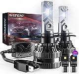 NATGIC H7 Bombillas LED para Faros Delanteros con 2PCS Bombillas LED T10, Kit de Conversión de H7 LED CanBus con Controlador Inteligente EMC, 70W 12000LM Xenón Blanco 6500K (Total de 4 Bombillas)