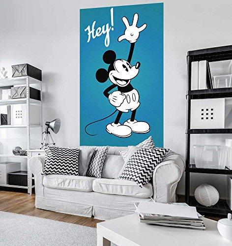 Komar Disney Vlies Fototapete MICKEY HEY | 120 x 200 cm | Tapete, Wand Dekoration, Retro, Comic, Micky, 90, Kinderzimmer, Kindertapete | VD-054