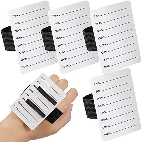 4 Stücke Wimpern Verlängerung Hand Palette Wimpern Halter Wimpern Werkzeug Palette mit Verstellbarem Armband Schalen Streifen Palette Einheitsgröße (7-14 mm Muster)