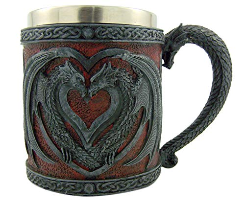 Resin and Brushed Metal Decorative Celtic Dragon Mug, 4 1/4 Inches