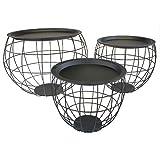 MACOSA NO77155 3er Set Design Metalltische Schwarz rund   Deckel   Wohnzimmertisch   Beistelltisch   Deko-Tisch   Dekorativ und stabil   Tisch