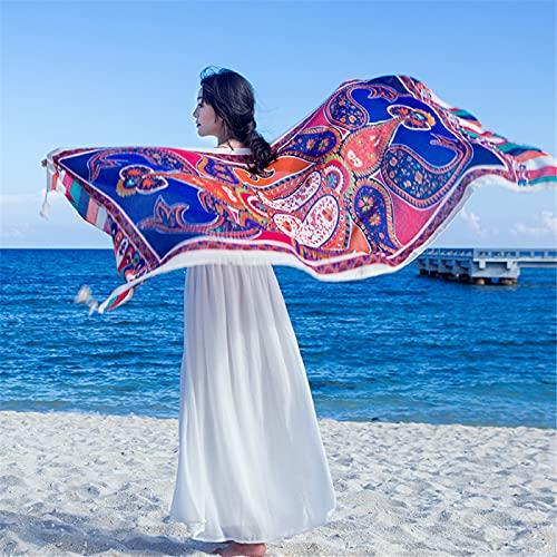 RZHIXR Bufanda Estilo Étnico para Mujer, Bufanda Larga con Estampado De Mantón, Algodón Y Lino Cálido Y Protector Solar Bufanda De Seda De Playa (90X180Cm)