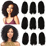 9 Bundles/Lot Marlybob Crochet Hair Kinky Curly Twist Hair Extension 8 Inch Short Jerry Curly Crochet Braids Synthetic Braiding Hairpieces (#1B)