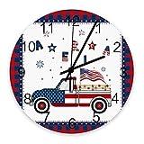 R&e Wanduhr 10 Zoll, amerikanische Sternenbanner Truc Kand USA Flagge, stille, Nicht tickende, batteriebetriebene Quarzwanduhren, Büffelgitter für Wohn- / Schul- / Bürodekor