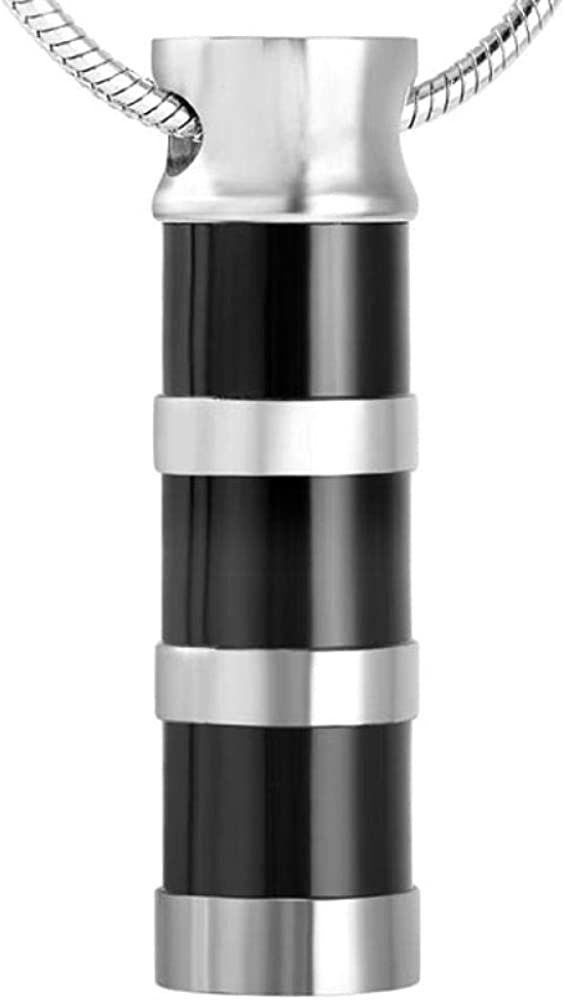 QQJJSUDIW Black Cylindrical Commemorative Necklace Stainless Max 60% OFF urn depot