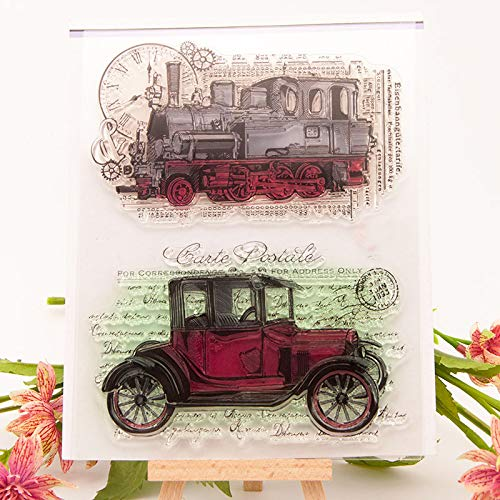 GIMITSUI Store Travel Train Car Clock Steampunk Stamp Seal Silicone Cards Stamp Scrap Booking Photo Album Making Scrapbooking Diary Decor Craft (18x15cm)