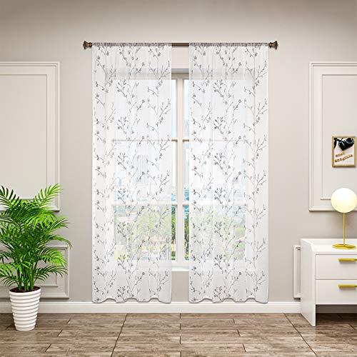 WOLTU VH6055gr-2, 2er Set Gardinen transparent Blumen Stickerei mit Kräuselband Leinen Optik, Doppelpack Vorhang Stores Voile Fensterschal Dekoschal für Wohnzimmer Schlafzimmer, 140x175 cm, Grau