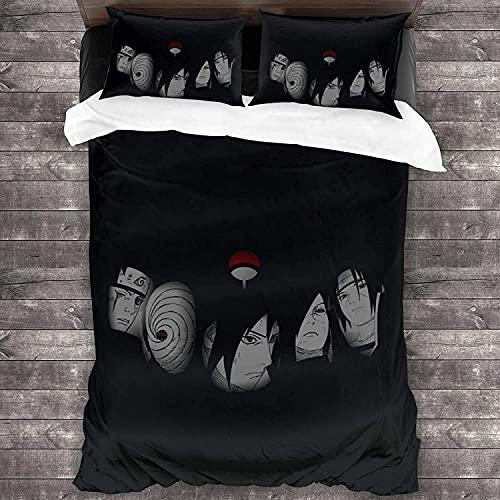 YOMOCO Naruto Juego de ropa de cama, Uzumaki Boruto Anime, 3 piezas, para niños y niñas, cremallera invisible (NARUTO5, 135 x 200 cm + 50 x 75 cm x 2)
