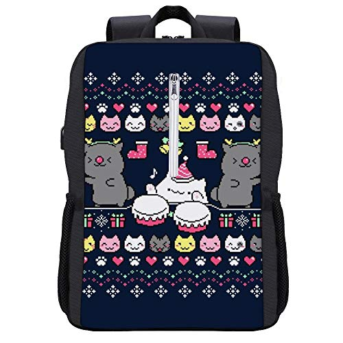 Mochila de Navidad Bongo Nights Bongo Cat Daypack Bookbag Laptop School Bag con puerto de carga USB