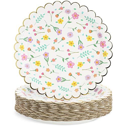 Juvale Blue Panda 48 platos de papel para fiesta floral con borde festoneado de lámina dorada, 7 pulgadas