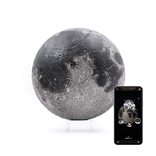 """AstroReality: LUNAR Pro Smart Moon Globe, Augmented Reality App, 3D Printed and Hand Painted Planet Model, NASA Sourced Extreme Precision Topography, 4.72"""", Stunning Decor Piece for Home, Space Gift"""