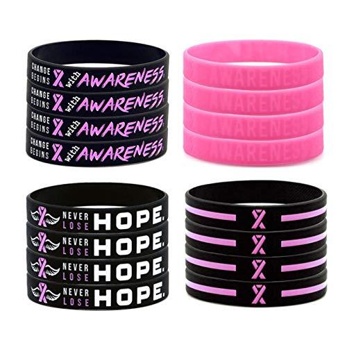Androxeda12 PCS di, braccialetto di consapevolezza del cancro al Seno, braccialetto all'ingrosso di supporto in Silicone con nastro Rosa di Grande capacità, sopravvissuto al cancro/infermiera.